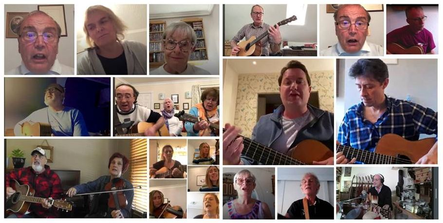 TwickFolk Friends Sunday Song Session. Collage by Riikka Gregorowski